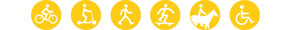 Icons von einem Radfahrer, Roller-Fahrer, Fußgänger, Skateboardfahrer, Reiter und einem Rollstuhlfahrer.